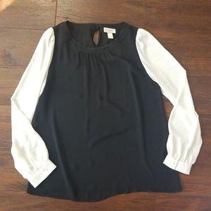 Loft black white bow back blouse, medium